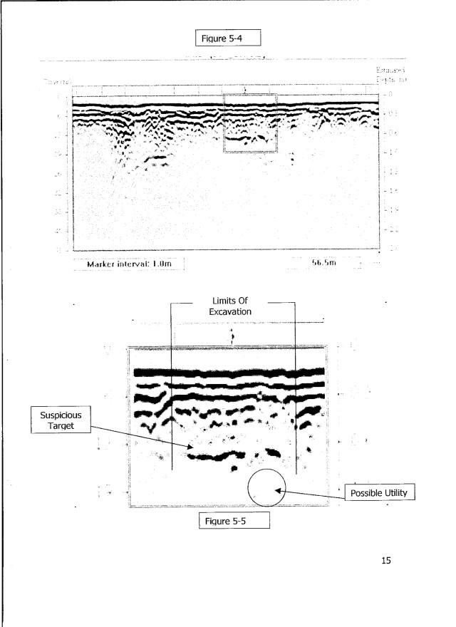 "This page from US Radar's report shows the results of just one ""anomaly"" under the blacktop indicating a need for further investigation."